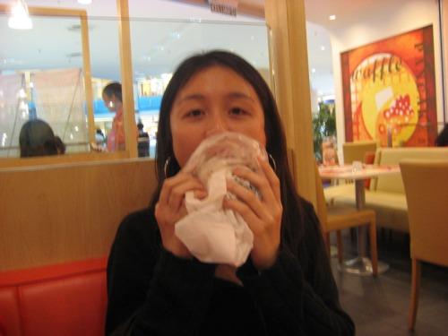 Ellen enjoying her bread